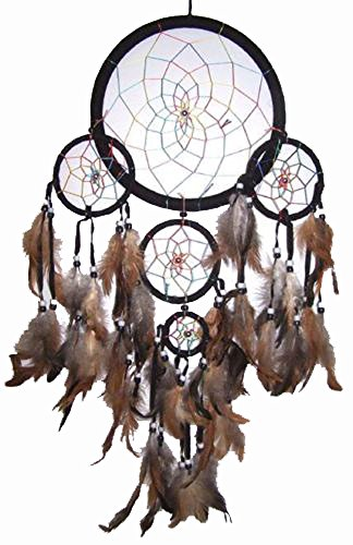 Huge Deluxe Black Rainbow 24 Inch Dream Catcher - Dreamcatcher with Real Feather