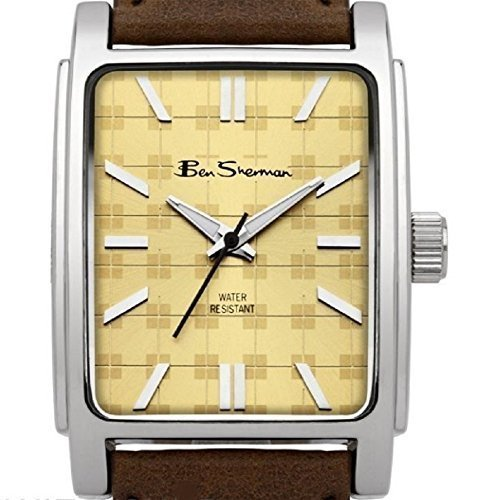 Ben Sherman Gents Watch BS033 Brown Faux Leather Strap with Square Design dial