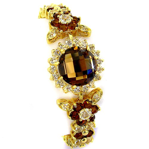 myCullinan Elegant Flower Styled Yellow Gold Plated Simulated Brown Topaz with Diamond Accent Bracelet BC324