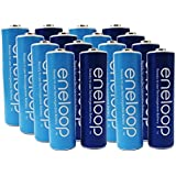 """Newest Version Panasonic Eneloop 4th Generation 16 Pack AA NiMH Pre-Charged Rechargeable Batteries - WITH BATTERY HOLDER- Rechargeable 2100 Times """" Limited Edition Blue Color Eneloops"""""""