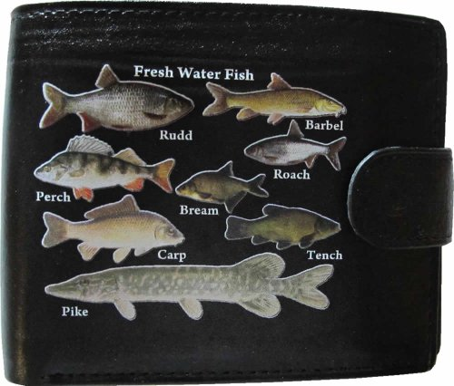 Freshwater Fish Fishermans River Lake Anglers Black Soft Leather Wallet Printed Picture