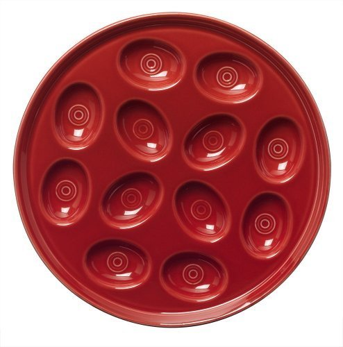 Serve Sriracha Roasted Red Pepper Deviled Eggs on a Fiesta 11-Inch Egg Tray in Scarlet