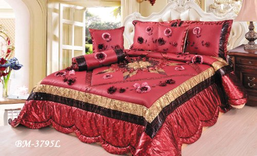 Tache 6 Pieces Red Winter Holiday Comforter Quilt Set, Queen Size front-939875