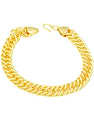 Memoir Gold Plated 10mm Broad, Super Flexible Interlinked Bracelet For Men And Women