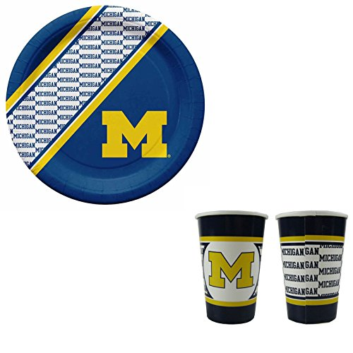 A 40 Piece NCAA Gift Set 20 Disposable Paper Plates and 20 Paper Cups - Michigan Wolverines