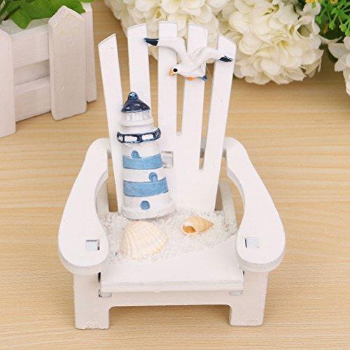 Buytra Miniature Fairy Garden Sea Beach Style Chair Ornament Outdoor Decor Home Article Wedding Cake Topper Decoration