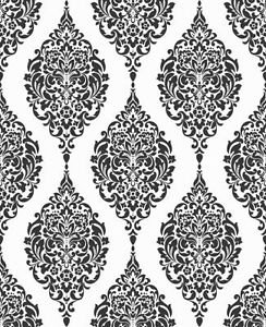 Home of Colour Damask Stripe Wallpaper - Black an from New A-Brend