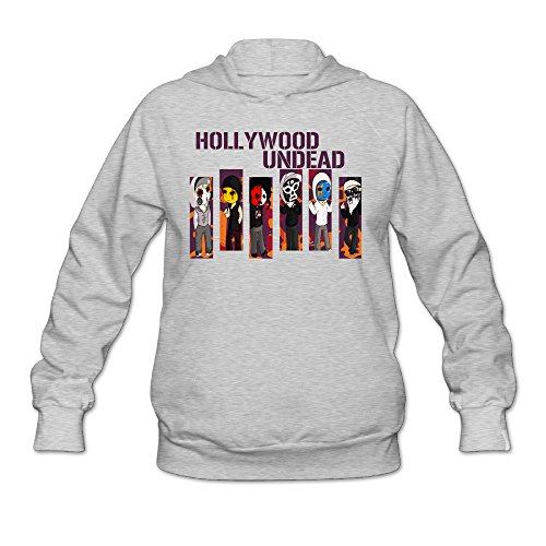[OOONG Women's Hollywood Undead Drawstring Hoodie Ash Medium] (Deluxe Smoke Mask)