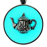 Alice in Wonderland Fairy Magical Fairy Glow in the Dark Necklace-aqua-sil
