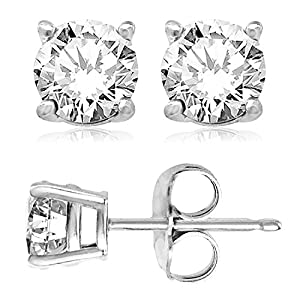 925 Sterling Silver 9mm Round Cubic Zirconia Gem Stud Earrings