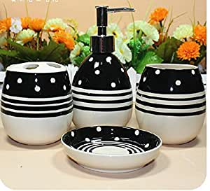 White and black striped 4 piece set ceramic for Black and white striped bathroom accessories