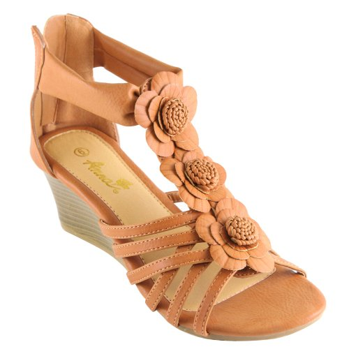 Anna Judy-4 Women'S Ankle Strappy Back Zipper Cork Wedge Platform Sandal, Color:Camel, Size:7 front-895343
