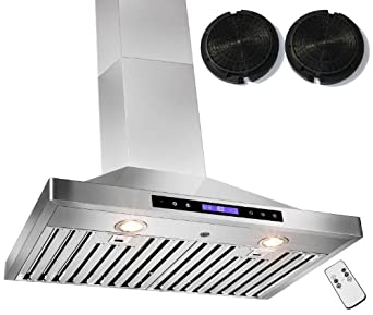 "GOLDEN VANTAGE 30"" Wall Mount Stainless Steel Ductless/Ventless Range Hood w/ Remote GVW30-B02CF"
