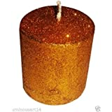 "Atorakushon Smokeless Scented 3""X3"" Golden Glitter Tall Pillar Candle For Decorate Diwali Party"