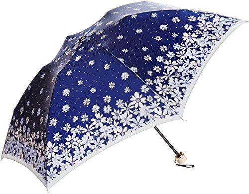 (ムーンバット)MOONBAT ランバン オン ブルー 婦人おりたたみミニ傘 サテン生地 華やかなフラワー&ドット柄