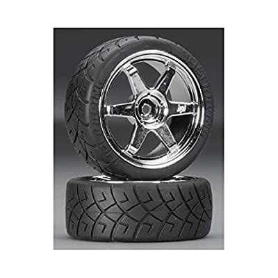 HPI Racing 4733 Mounted X-Pattern Tire, D Compound for Volk TE37 Wheels, 0mm Offset, Chrome