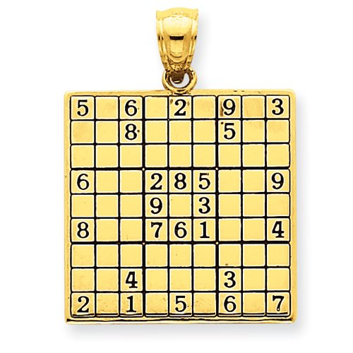 14k Antiqued Sudoku Game Board Pendant