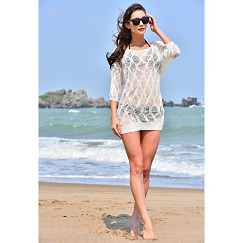 5a2dde8e15334 ... Poncho Crochet Woven Bohemian Fringe Swimsuit Cover Up Top. $21.99. MG  Collection White See Through Mesh Short Sleeve Beach Swimsuit Cover Up Top