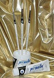 Permalba Oil Brushes, White Bristle, Round, Set of 3