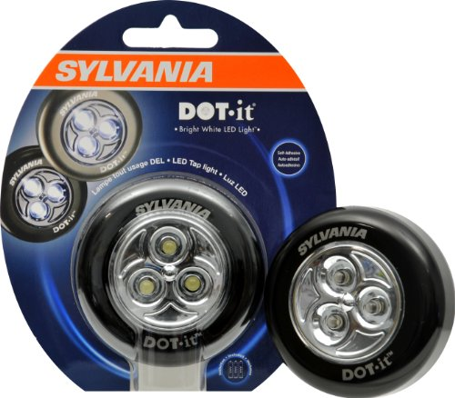 Sylvania 36008 DOT-it Self-Adhesive Bright White LED Light, Black