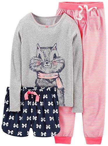 Carters Big Girls 3-Pc. Chipmunk & Bows Pajama Set 10 Grey/Pink front-174865