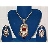 Bollywood Designer Kundan and Maroon Enameled Wedding Jewelry Set