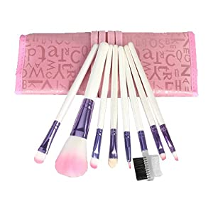 8pcs Pro Pink Make Up Brushes Set With Case