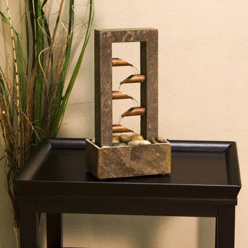 Kenroy Home Waterdrop Natural Slate Tabletop Fountain