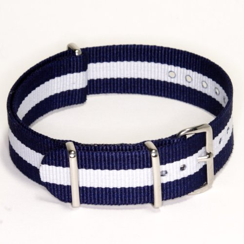 Navy White Skunk Strap in 20mm Nylon G10 MoD Military Watch Band excellent quality new 20mm military army nylon watch band straps waterproof watch strap black silver buckle 2 colors available