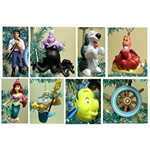 #!Cheap Disney Little Mermaid Set of 8 Holiday Christmas Tree Ornaments Featuring Ariel, Ursula, Prince Eric, Sebastian, Flounder, King Triton, Max The Sheep Dog and Decorative Ship Wheel