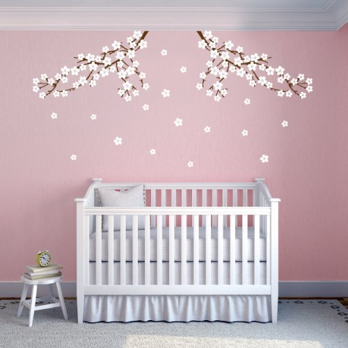 Cherry Blossom Nursery Branch Wall Decals (Brown and White)