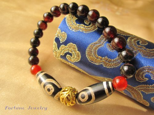 Tibetan 2 Dragon Eyes Protection Dzi Beads Amulet Bracelet, 8mm Black Agate Beads and Tibetan Copper- Fortune Feng Shui Buddhist Jewelry
