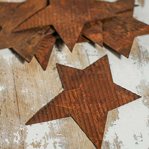 Group of 12 Rusty Corrugated Tin Primitive Star Cutouts for Crafting Creating and Decorating