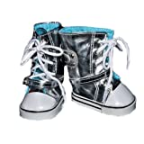 """Silver & White CONVERSE SNEAKERS TENNIS SHOES w/Buckle- Fits the American Girl 18"""" Doll - Olympic Gym Shoes Boots ~ American Girl Locker"""