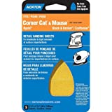"Norton 07660702705 Iron Shape Sanding Sheet for Corner Cat/Mouse Sander, Hook and Loop, 5-1/2"" Length x 3-7/8"" Width, P180 Grit, Fine Grade (Pack of 5)"