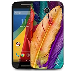 Snoogg Feathers Colourful Designer Protective Phone Back Case Cover For Motorola G 2nd Genration / Moto G 2nd Gen