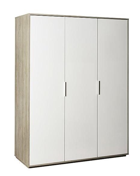 Armario Omnia roble gessato con tres puertas lacados blancas lucide