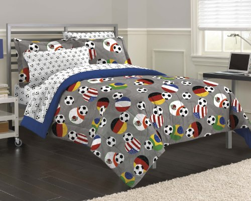 Dream Factory Soccer Fever Teen Bedding Comforter Set, Full, Gray front-186676