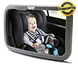#1 Back Seat Mirror – Baby & Mom Rear View Baby Mirror – Easily Watch your Precious Child In-Car with this Adjustable Convex Baby Safety Mirror – Larger Angle than other Brands allows Full Sight of Rear Facing Infant Car Seat – Lightweight with High Quality Plastic Shell and Shatterproof Glass