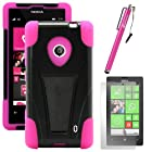 MINITURTLE, Sleek Dual Layer Fusion Hybrid Hard Phone Case Cover with Built in 2 Way T Shape Kickstand, Clear Screen Protector Film, and Stylus Pen for Windows Smart Phone 8 Nokia Lumia 521 /T Mobile /MetroPCS (Black / Pink)