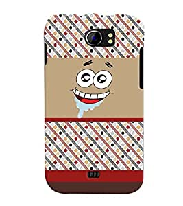 PrintVisa Cute Cartoon Patter Smiley 3D Hard Polycarbonate Designer Back Case Cover for Micromax Canvas 2 A110 A110Q