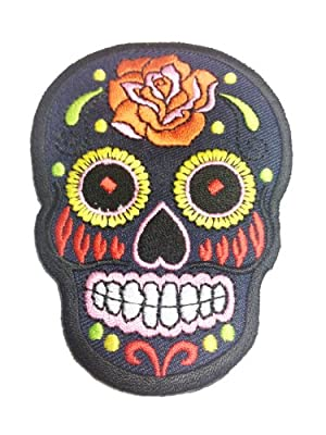 Tribal Tattoo Rockabilly Biker Death Mask Skull Black Appliques Hat Cap Polo Backpack Clothing Jacket Shirt DIY Embroidered Iron On / Sew On Patch #5 from BKKPatch