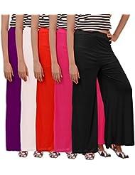 Carrol Women's Plazzo Combo Of 5 (Purple,Red,Black,Pink,White)