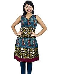 Simply Sapnaa's Women's Cotton Printed Half Sleeve Kurti (Maroon) - B00L5FNES4
