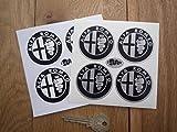 Alfa Romeo Wheel Centre Stickers. Monochrome black&silver アルファロメオ ステッカー デカール シール 海外限定 ブラック&シルバー 50mm [並行輸入品]