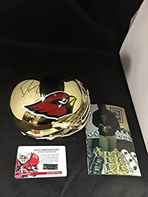 David Johnson Signed Autographed UNI Arizona Cardinals Gold Chrome Mini Helmet Witnessed COA & Hologram W/Photo From Signing