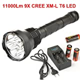 SecurityIng 9X CREE XM-L T6 LED 11000Lm LED Flashlight Torch + 3X 26650 Battery + Charger