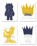 Where the Wild Things Are, King Of All Wild Things, Set of Four 8×10 Nursery Prints – Perfect for Your Baby's Nursery Décor, Perfect Gift for A New Mother, Perfect Gift At Your Next Baby Shower! (Mustard)