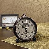 ZQY fashion unique gift ideas clock bedroom American Continental retro alarm clock quartz mute metal clocks B