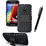 LK Motorola Moto G (2nd Gen) Case - Rugged Armor Spider 2 in 1 Combo Defender Shockproof Hybrid Case Built-in Kickstand for Moto G 5'' 2nd Generation 2014 + Free Screen Protector & Stylus Pen (Black)